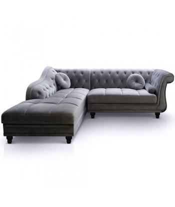 Canapé d'angle Chesterfield en Velours Gris argent Gauche