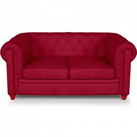 Canapé 2 places Chesterfield effet Lin Rouge