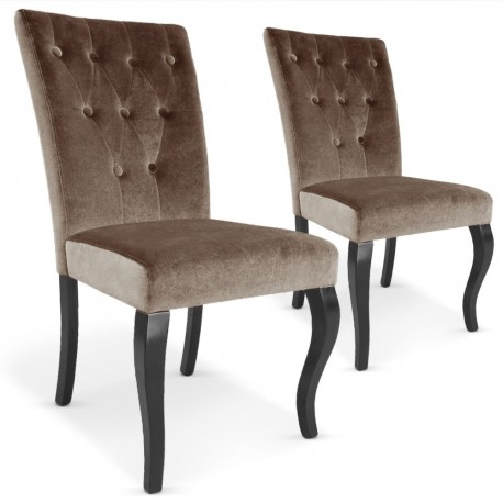 Chaises Retro Chic : Lot de 2 Taupe Lot de 2