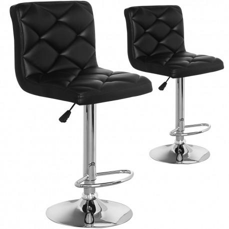 Chaises de bar effet cuir Noir Lot de 2