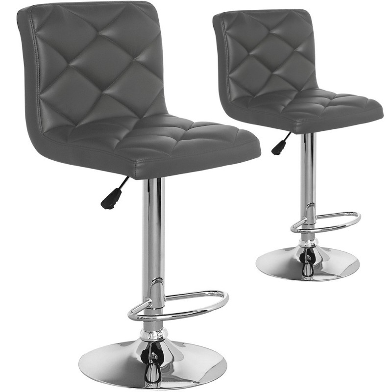 chaises de bar effet cuir gris lot de 2 pas cher british d co. Black Bedroom Furniture Sets. Home Design Ideas