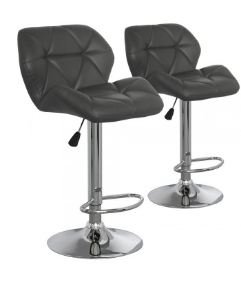 Chaises de bar matelassé Gris Lot de 2