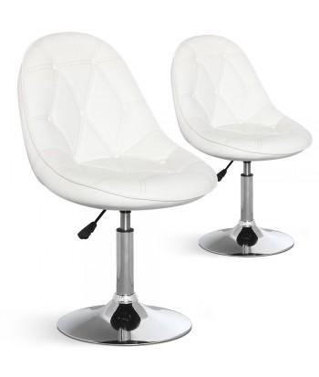 Chaises de bar ronde effet cuir Blanc Lot de 2