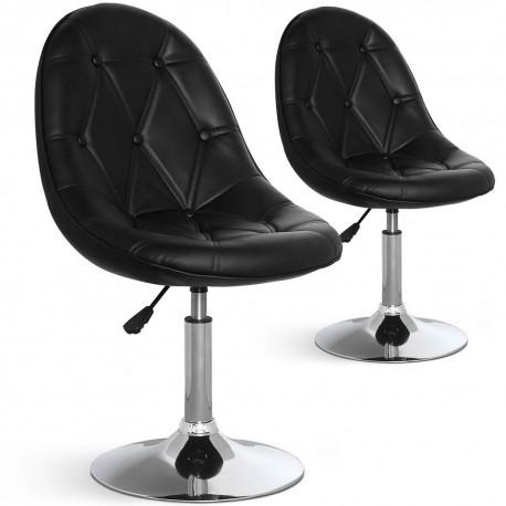 Chaises de bar ronde effet cuir Noir