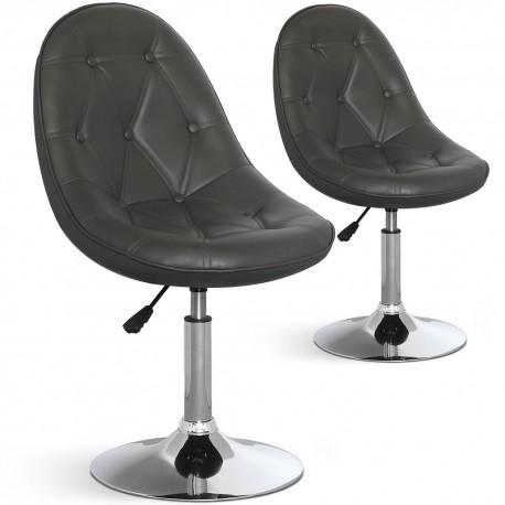 Chaises de bar ronde effet cuir Gris
