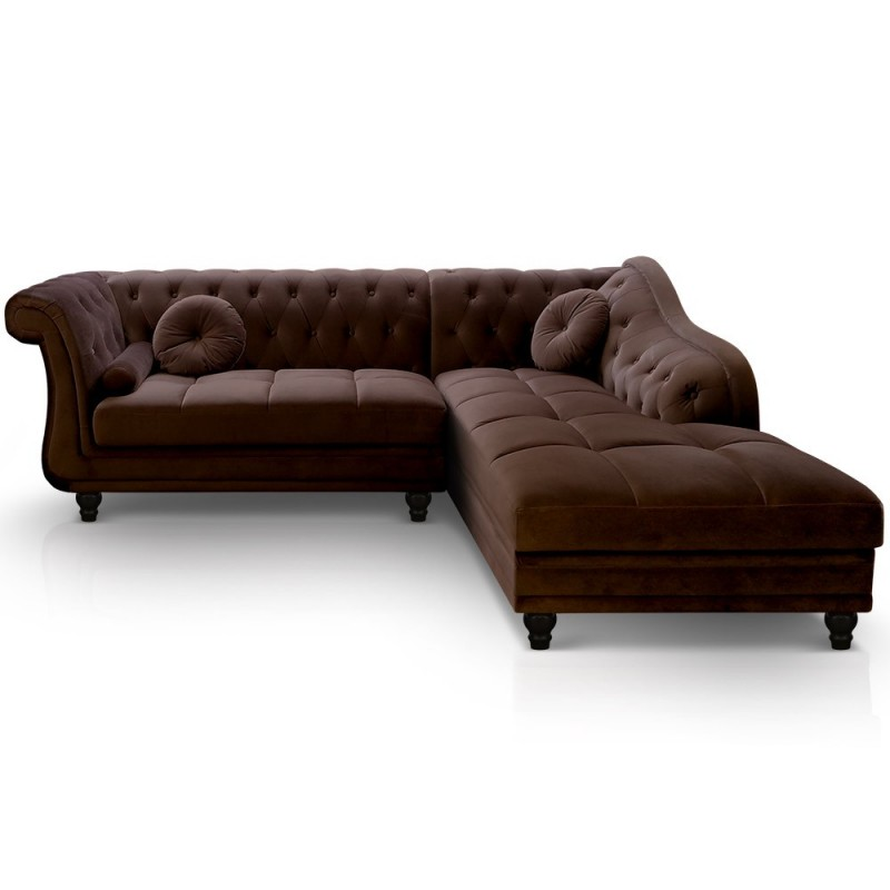 canap d 39 angle brittish velours marron style chesterfield. Black Bedroom Furniture Sets. Home Design Ideas
