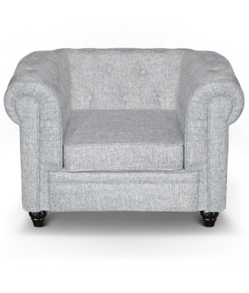 Fauteuil Chesterfield effet Lin Gris Clair