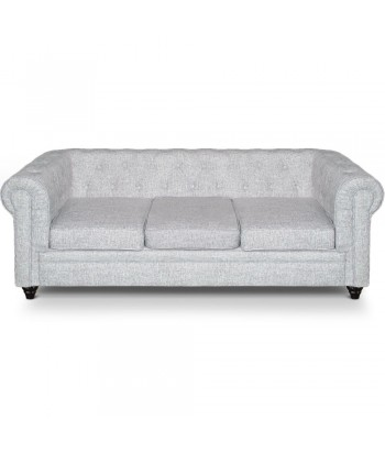 Canape 3 places Chesterfield effet Lin Gris Clair