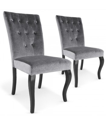 Chaises Retro Chic : Lot de 2 Gris Lot de 2