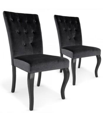 Chaises Retro Chic : Lot de 2 Noir Lot de 2