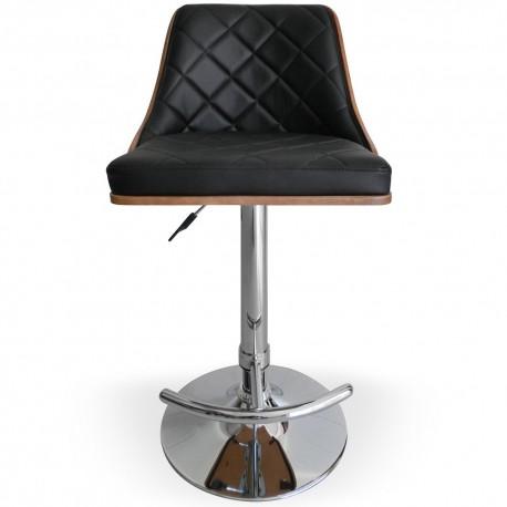 Chaise de bar matelassé Bois Noisette & Noir