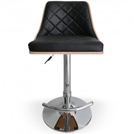 Chaise de bar matelassé Chêne Clair & Noir