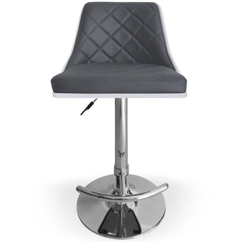 Chaise de bar matelass bois blanc gris pas cher for Chaise en bois blanc pas cher