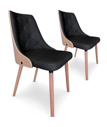 Lot de 2 chaises scandinave Chêne clair et simili cuir noir