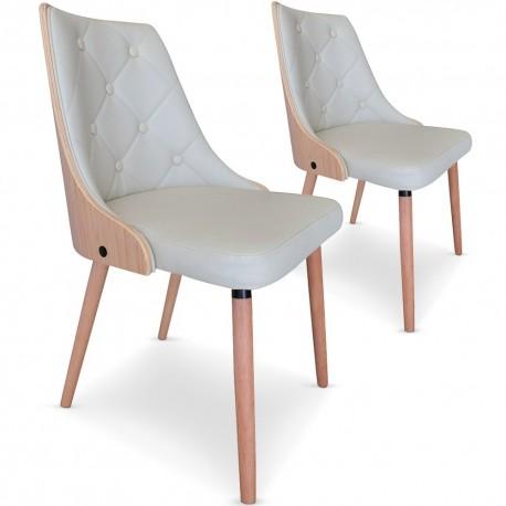 Chaises Scandinaves matelassé Bois chêne clair : Lot de 2 chaises