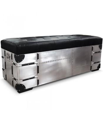 Banquette coffre + poufs métal et Simili cuir XL Noir