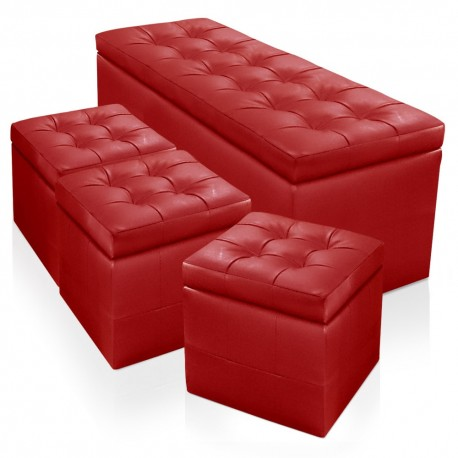 Banquette Chesterfield Rouge XL + 3 Poufs