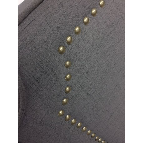 Tête de lit cloutée 160cm Tissu Gris