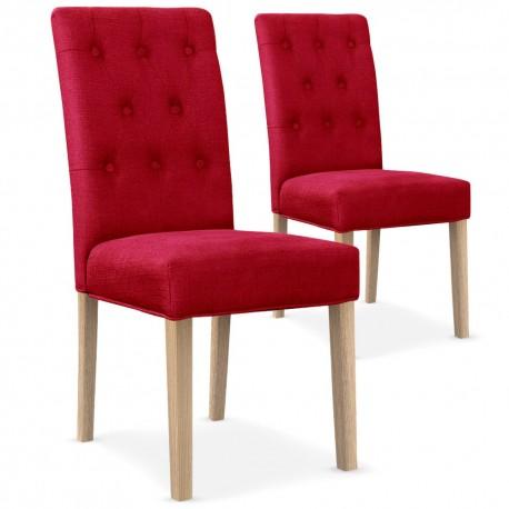 Chaises matelassée Tissu Rouge Lot de 2