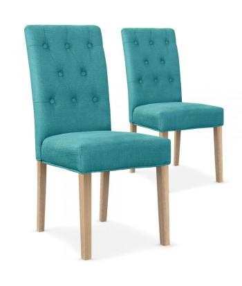 Chaises matelassée Tissu Bleu Turquoise Lot de 2