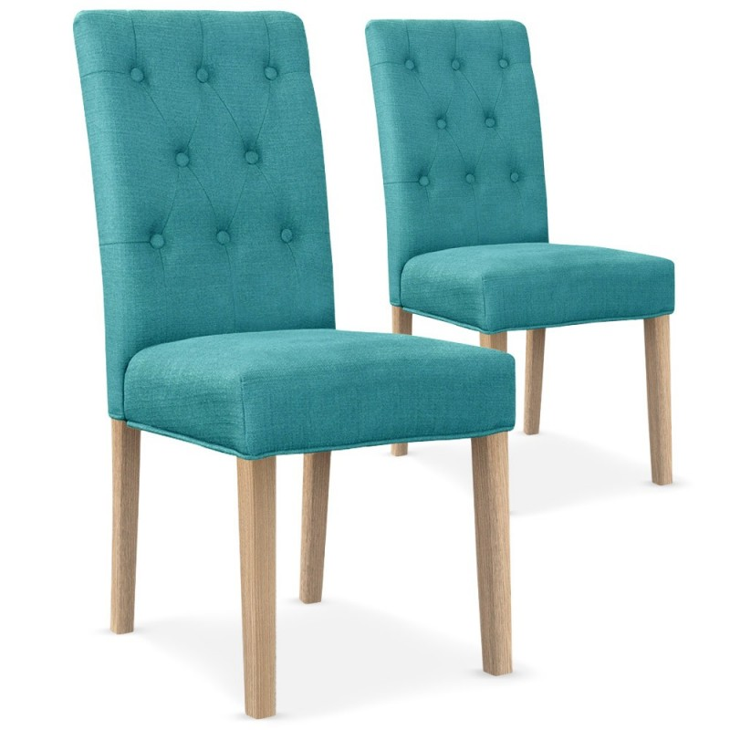 chaises matelass e tissu bleu turquoise lot de 2 pas cher british d co. Black Bedroom Furniture Sets. Home Design Ideas