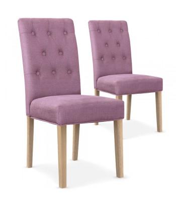 Chaises matelassée Tissu Violet Lot de 2