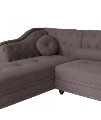 Canapé d'angle Brittish Tissu Taupe style Chesterfield