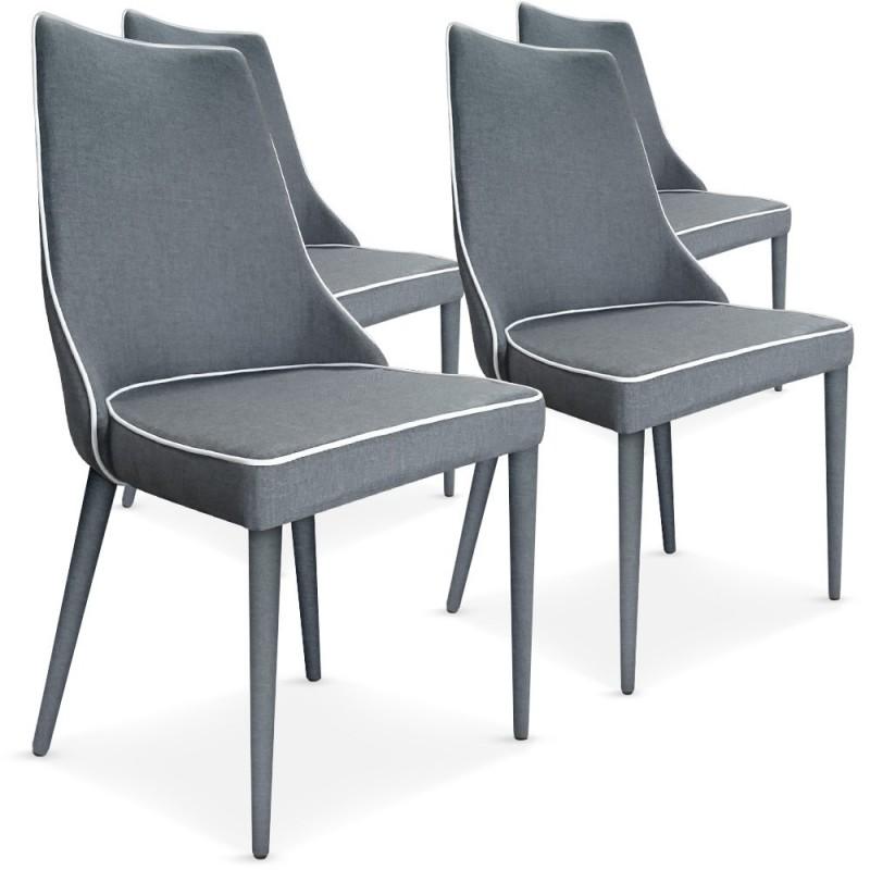 Lot de 4 chaises tissu gris pas cher british d co for Lot de 4 chaises grises