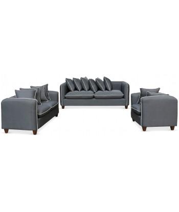 Ensemble canapés et fauteuil 3+2+1 places Tissu Gris