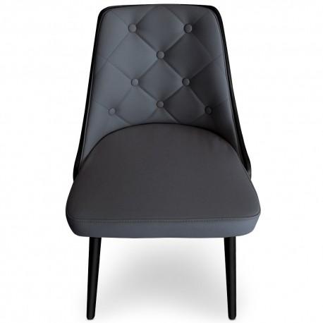 Lot de 2 chaises scandinaves Cadix Bois Noir & Gris