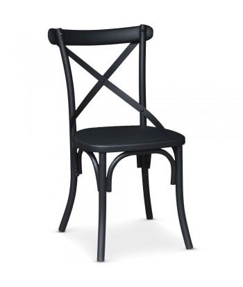 Chaise bistrot en métal Angie Noir Mat