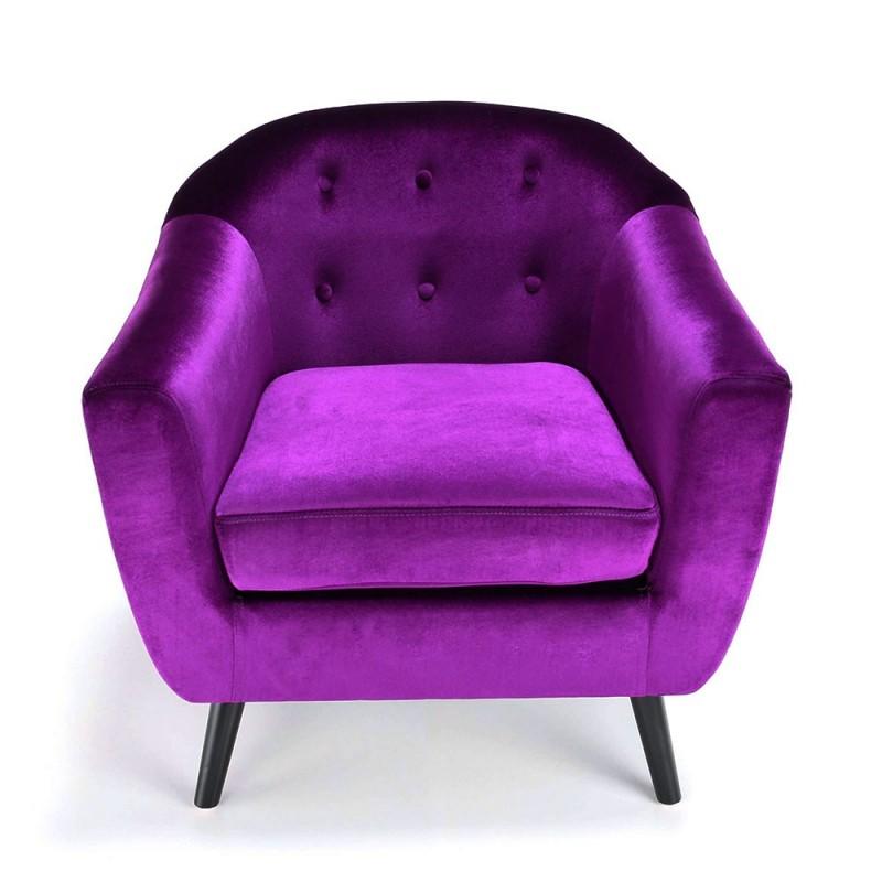 Fauteuil scandinave velours violet pas cher british d co - Fauteuil club velours ...