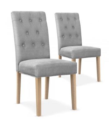 Lot de 2 chaises Costel Tissu Gris Clair