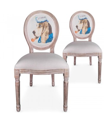Chaises médaillon Louis XVI Doggy Beige Lot de 2