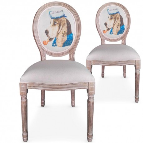 Chaises médaillon Louis XVI Doggy Beige Lot de 2