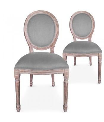 Chaises médaillon Tissu Gris Louis XVI Lot de 2