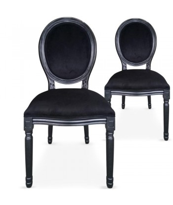 Chaises médaillon Velours Noir Louis XVI Lot de 2