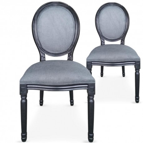 Chaises médaillon Velours Gris Louis XVI Lot de 2