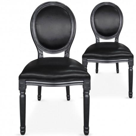 Chaises médaillon Simili Cuir noir Louis XVI Lot de 2