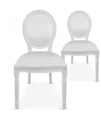 Chaises médaillon Simili Cuir blanc Louis XVI Lot de 2