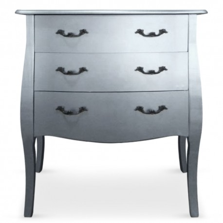 Commode 3 tiroirs Argent Chic