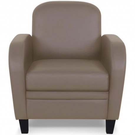 Fauteuil Club Taupe effet cuir