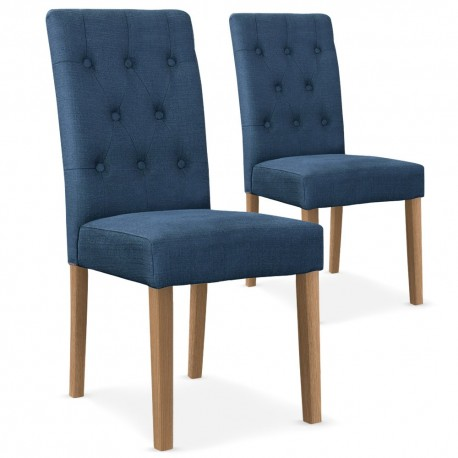 chaises tissu bleu lot de 2 pas cher british d co. Black Bedroom Furniture Sets. Home Design Ideas