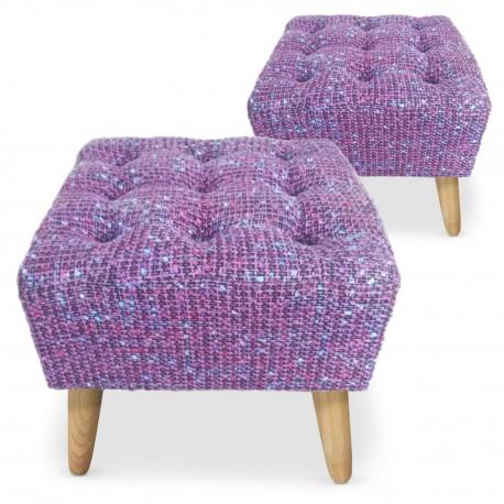 Lot de 2 poufs carrés scandinave capitonnés Mailles Violet