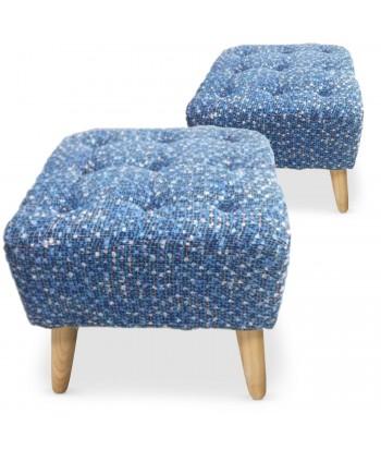 Lot de 2 poufs carrés scandinave capitonnés Mailles Bleu