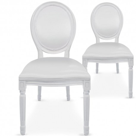 Chaises médaillon Simili Cuir Louis XVI Lot de 2