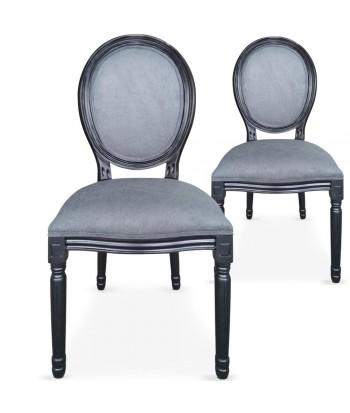 Chaises médaillon noir Louis XVI Lot de 2