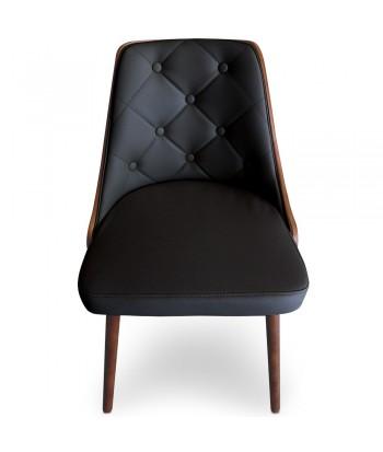 Chaises Scandinaves Matelassé bois et simili cuir noir