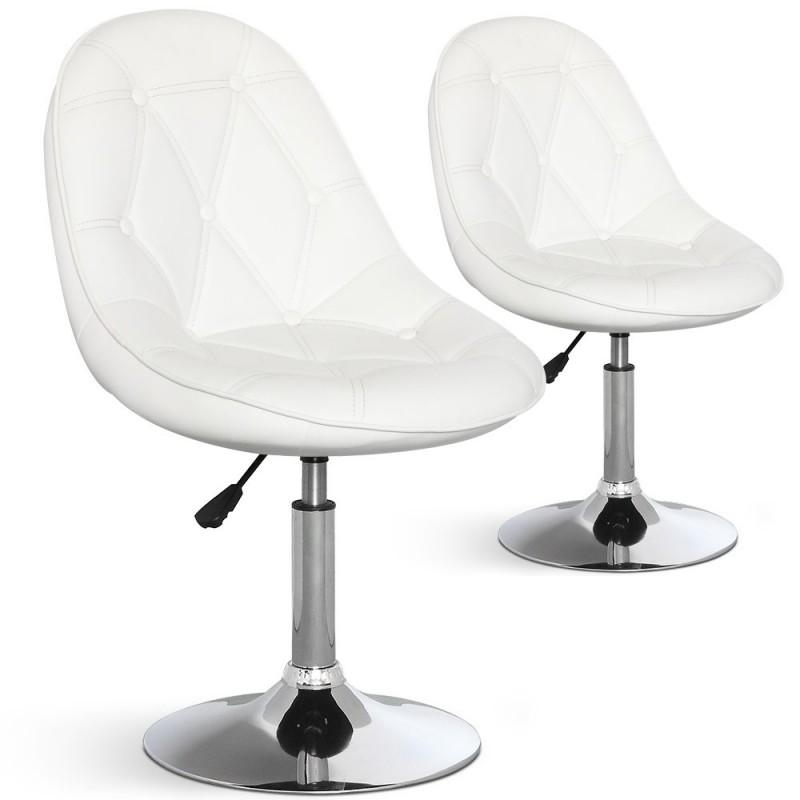 chaises de bar ronde effet cuir lot de 2 pas cher. Black Bedroom Furniture Sets. Home Design Ideas