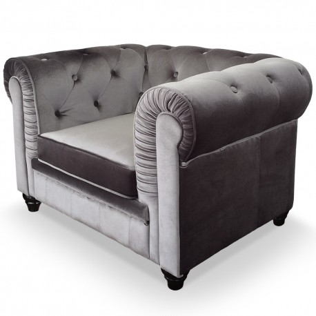 Fauteuil Chesterfield velours